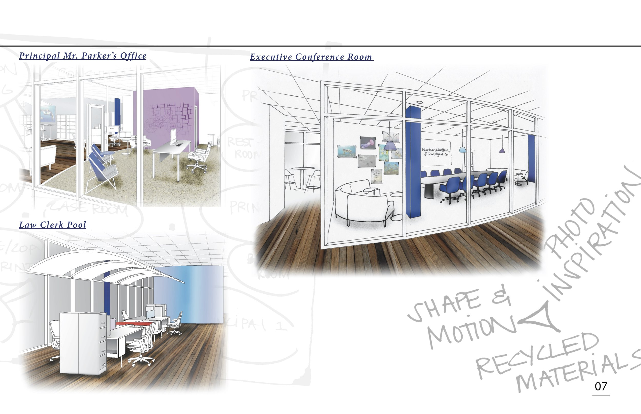 acoustic sound clouds, benching desks for an open office and a statement worthy conference room.