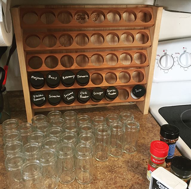 Our shop is back open! After a few months spent upgrading to a larger shop, we're now taking orders again through our site and Etsy (link in bio). . . . Here are some progress shots of this spice rack being built.