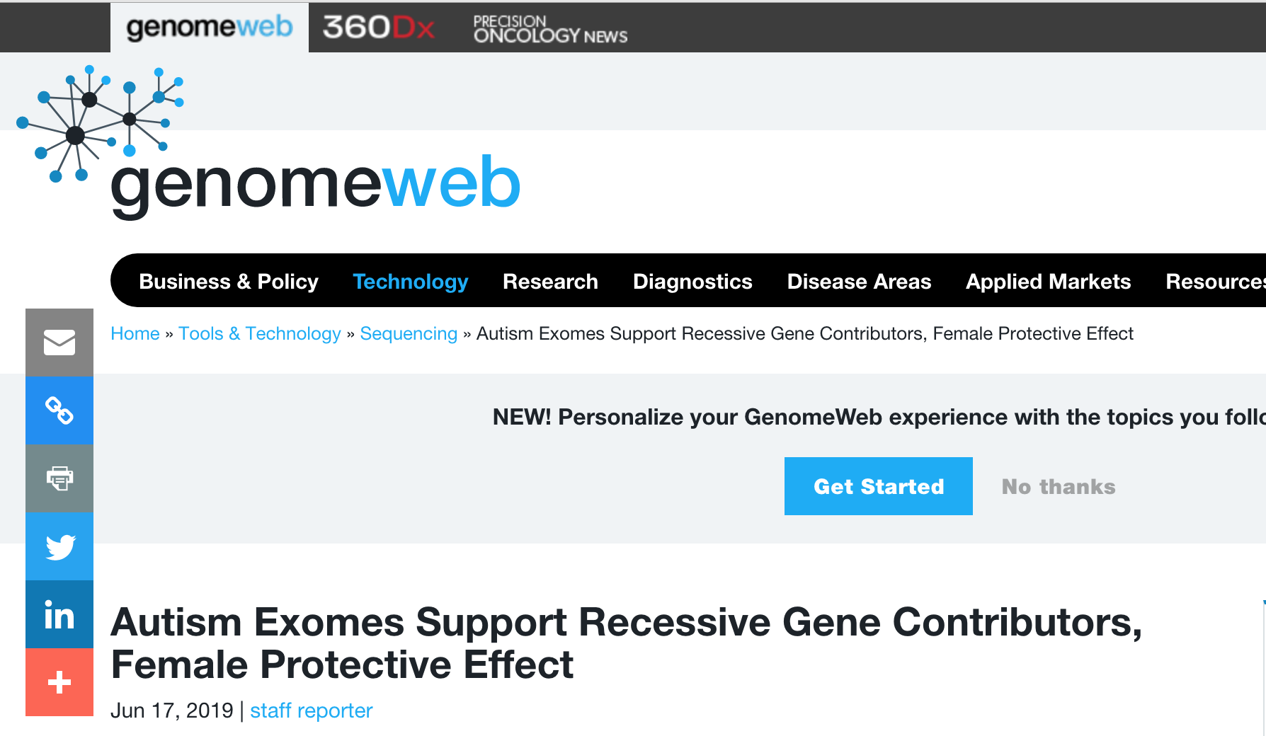 genomeweb - June 17, 2019