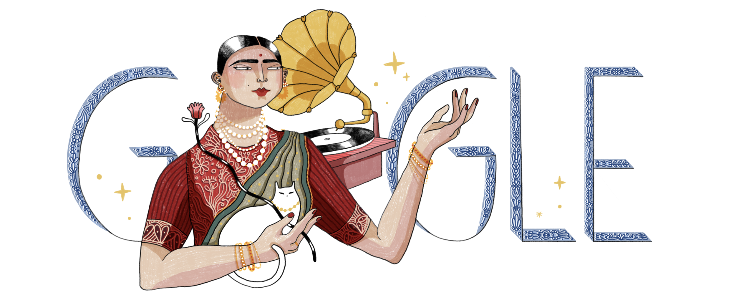 Google Doodle for Gauhar Jaan's 145th Birthday