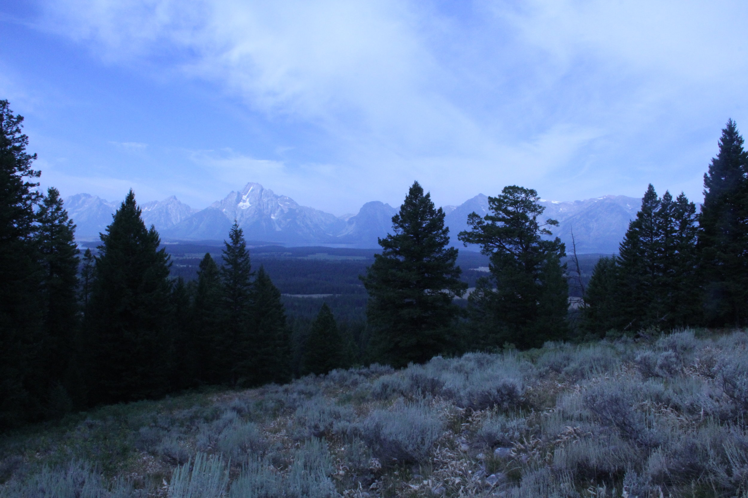 Here's a picture I took of Grand Teton, while hiking one morning out west.