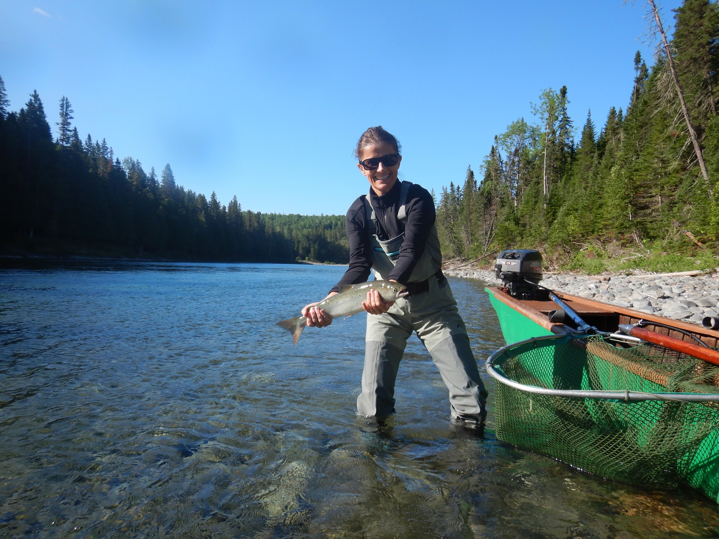 Agathe Thibault with her first Atlantic salmon, Congratulations Agathe!