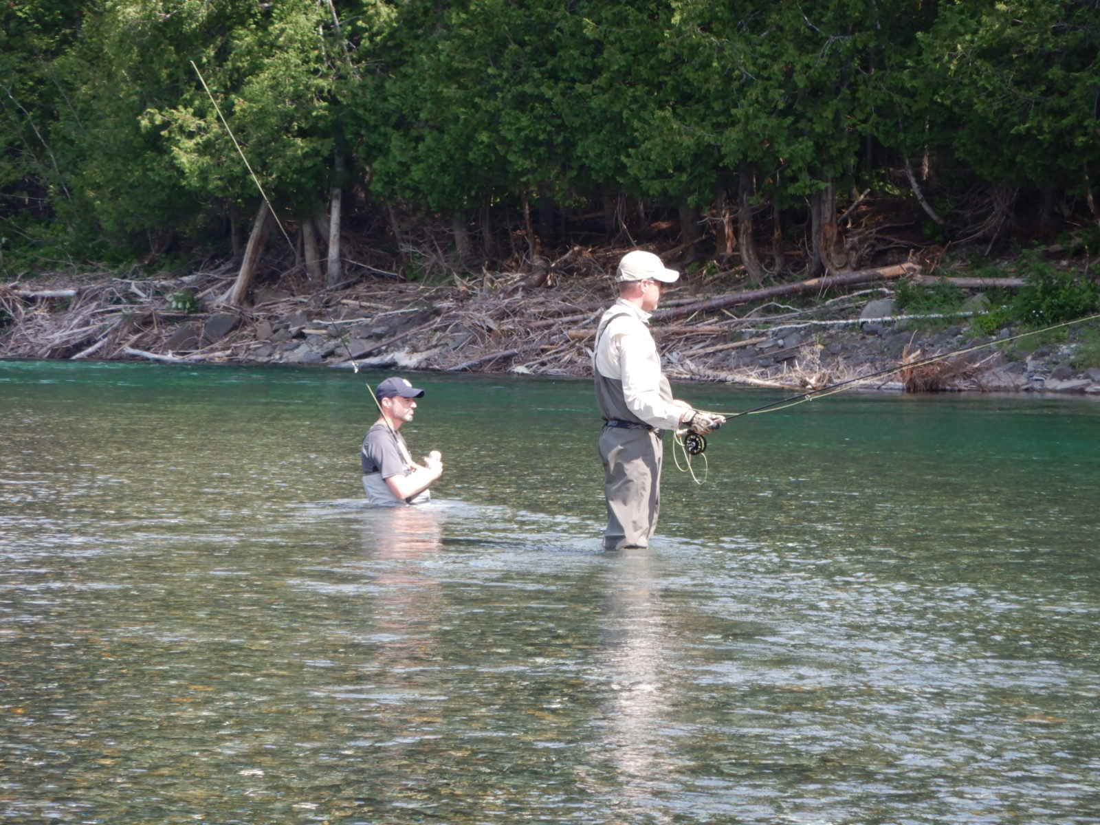 Dominic and Pascal Becotte fishing Double Camp, a great dry fly pool.