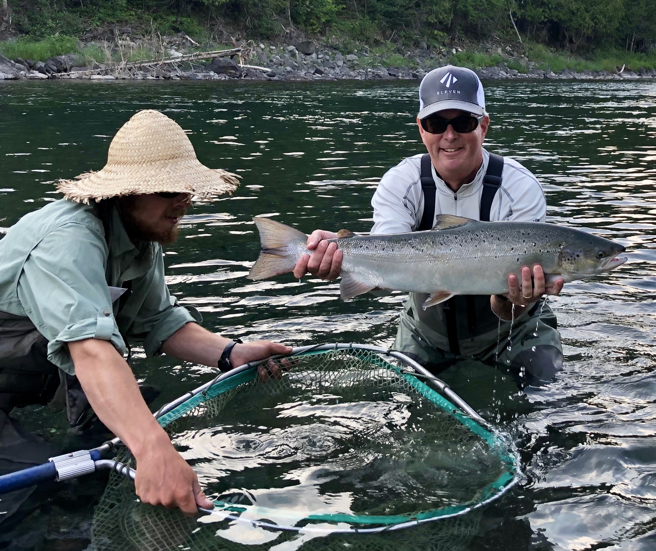 Edward Shugrue landed this Beautiful Bonaventure Salmon at Baker with his guide Olivier! Congratulations Edward!