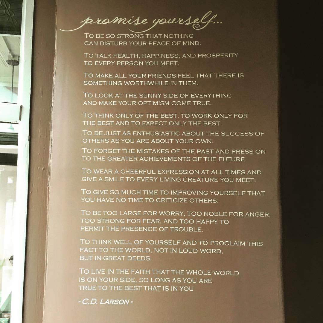 The Optimist's Creed in our Sanctuary Space