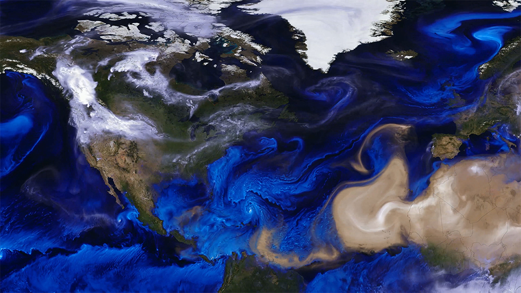 NASA visualization of sea salt, smoke, and dust traveling on air currents in 2017. Image taken from video by  NASA's Goddard Space Flight Center .