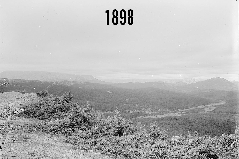 Historical photo taken near Plateau Mountain, Alberta by historical surveyors. Photo courtesy of the Mountain Legacy project.