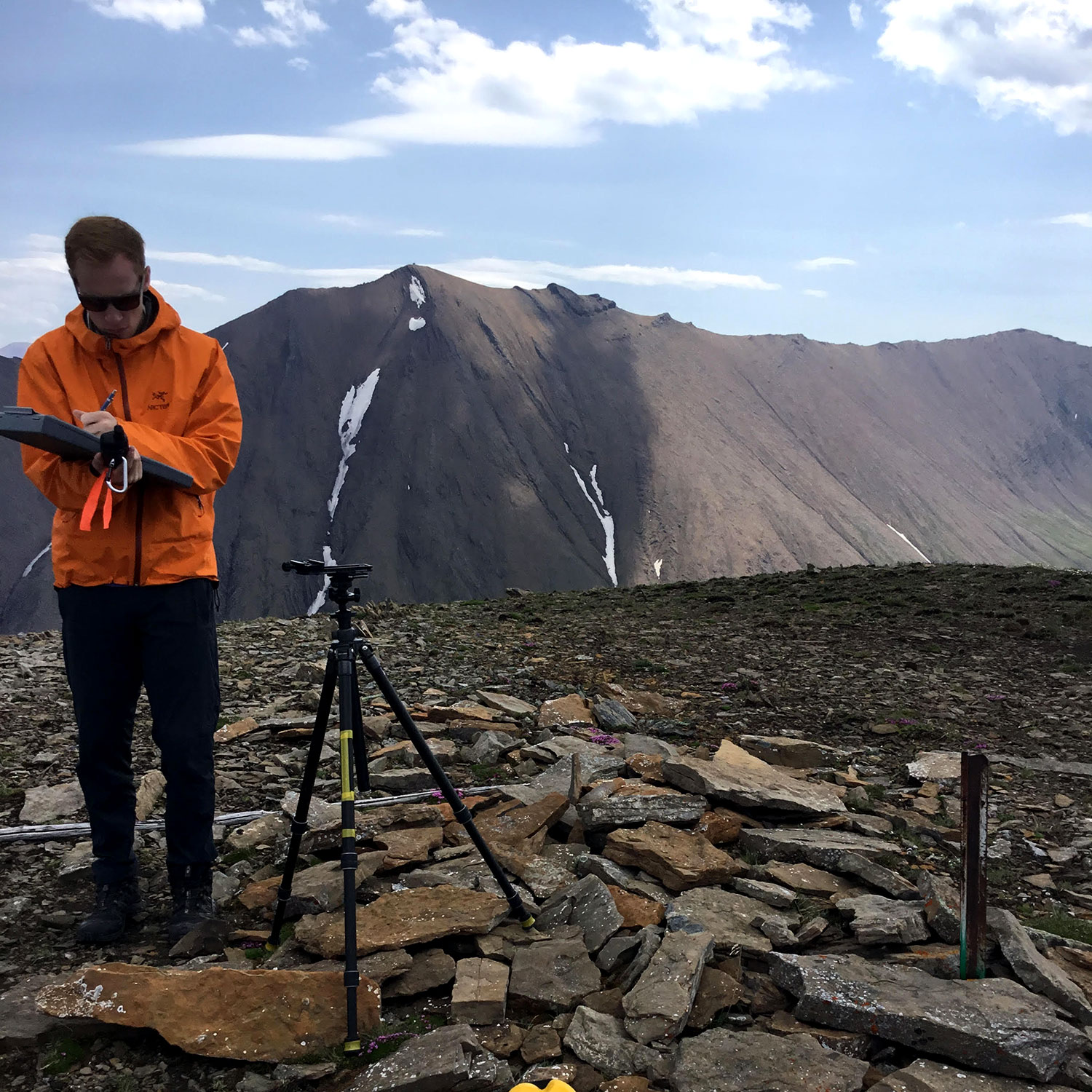 Karson Sudlow captures some notes at a repeat photography location he visited during the 2017 field season. Photo courtesy Karson Sudlow.