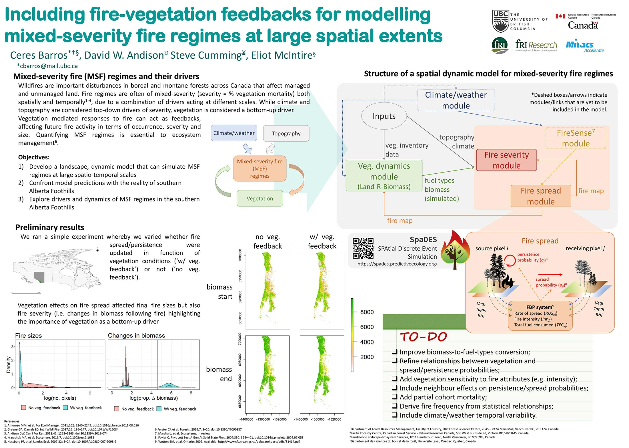 Including fire-vegetation feedbacks for modelling mixed-severity fire regimes at large spatial extents. Poster by Ceres Barros, David W. Andison, Steve Cumming, and Eliot McIntire. Presented at the Ecological Society of America Annual Meeting on Aug. 8, 2018.