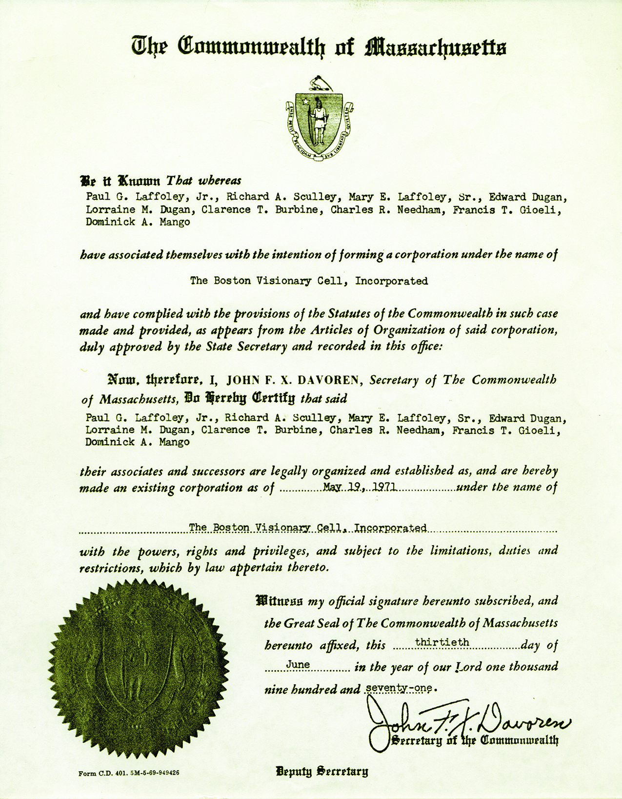 Boston Visionary Cell Articles of Incorporation, 1971
