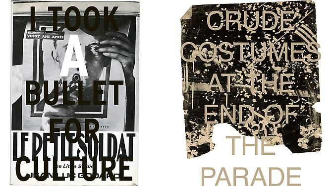 Left  I TOOK A BULLET FOR CULTURE, 2012  Archival inkjet prints on Hahnemule Fine Art photo rag paper, 18 x 15 1⁄2 in.  Right  END OF THE PARADE, 2012  Archival inkjet prints on Hahnemule Fine Art photo rag paper, 36 x 29 in.