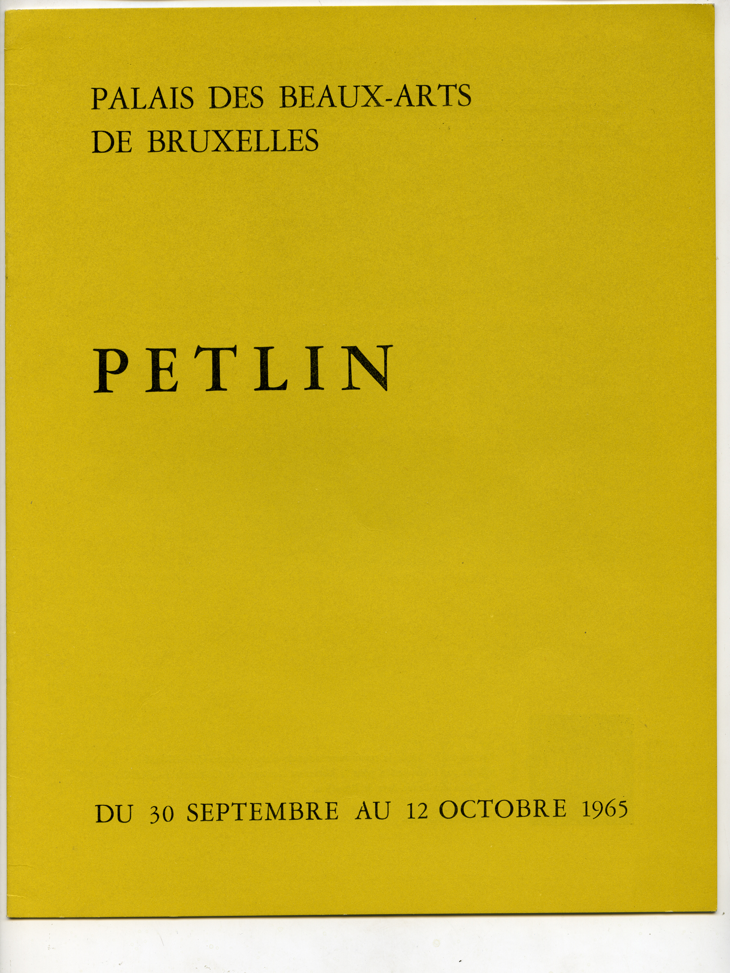 Exhibition at Palais ds Beaux Arts, Bruxelles (1965)