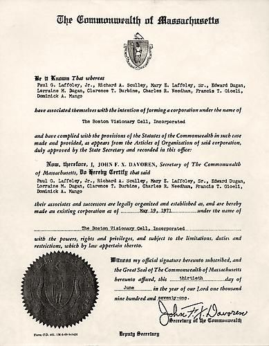 The Commonwealth of Massachusetts Certificate of Incorporation