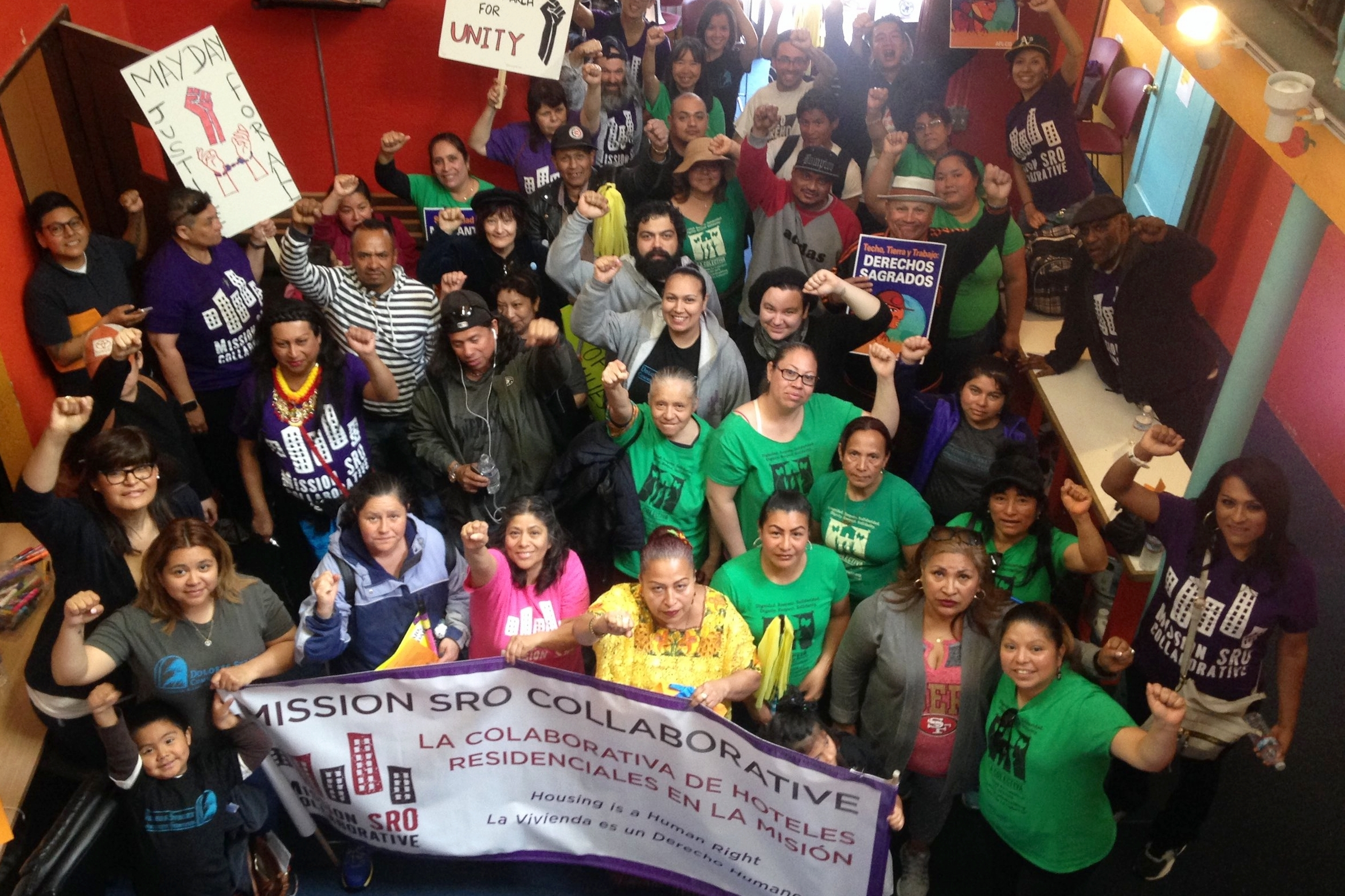 Photo: Members and Leaders of La Colectiva (Workers Rights Program) + Leaders from our MSROC Program (Housing Rights) come together for May 1st Rally, 2018.