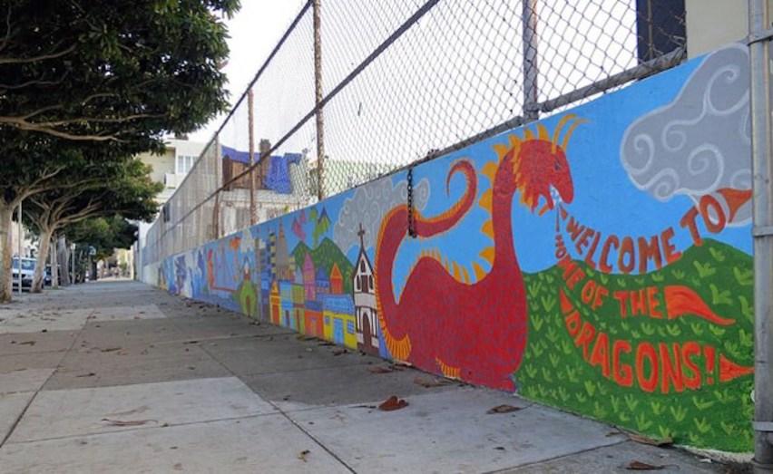 The mural in progress at Buena Vista Horace Mann