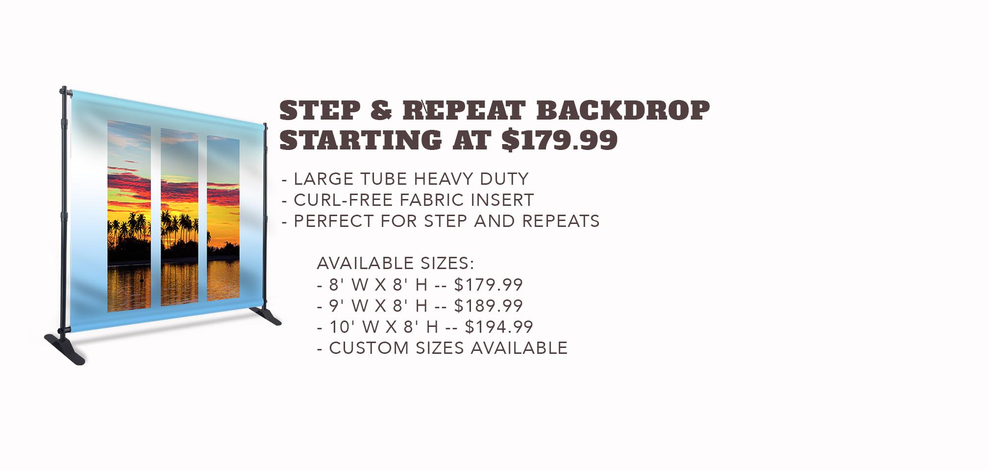 Step & Repeat Backdrop - Starting at $179.99