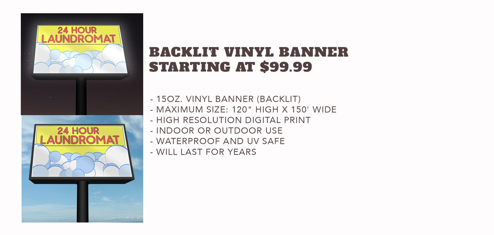 Backlit Vinyl Banner - Starting at $99.99