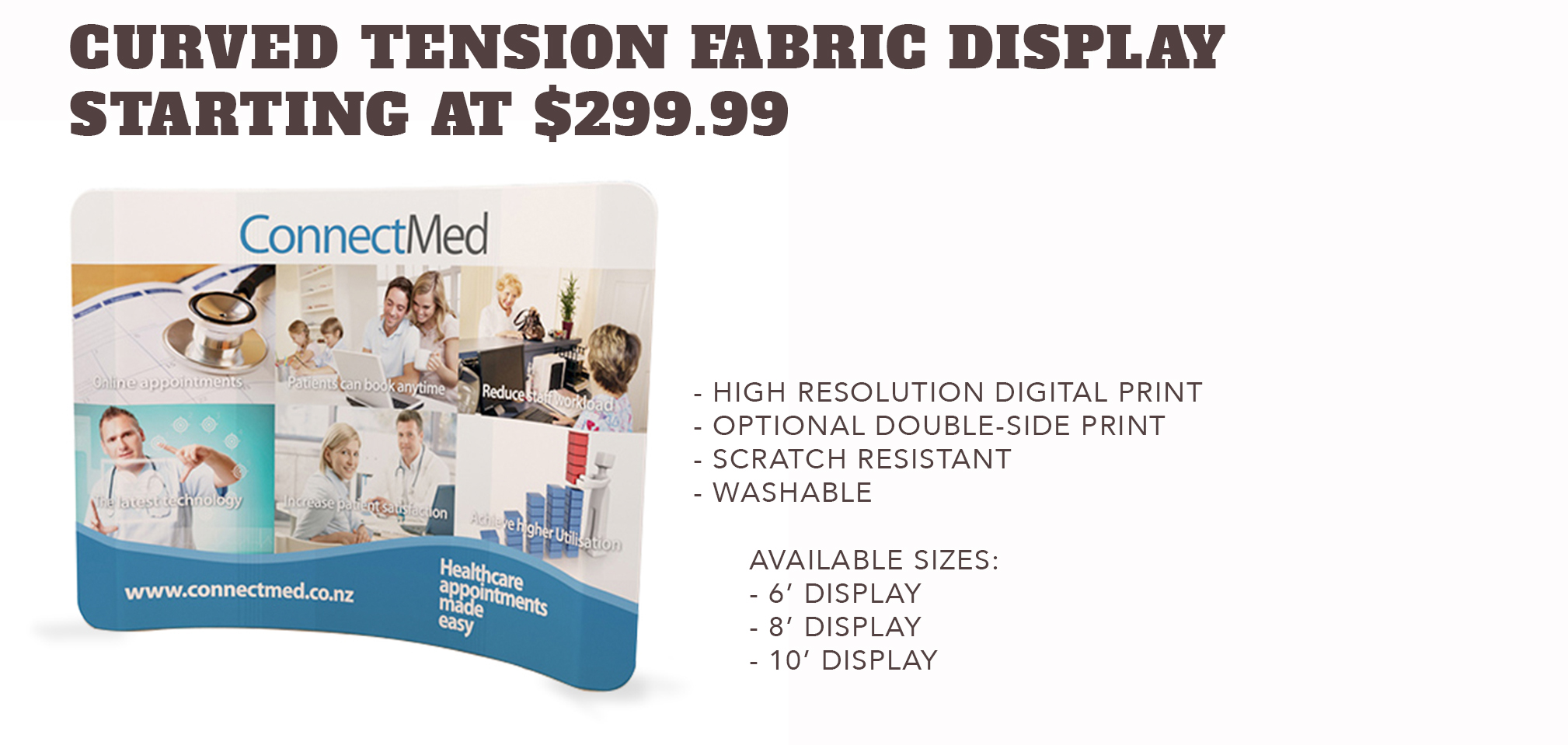 Curved TensionFabric Displays - Starting at $299.99