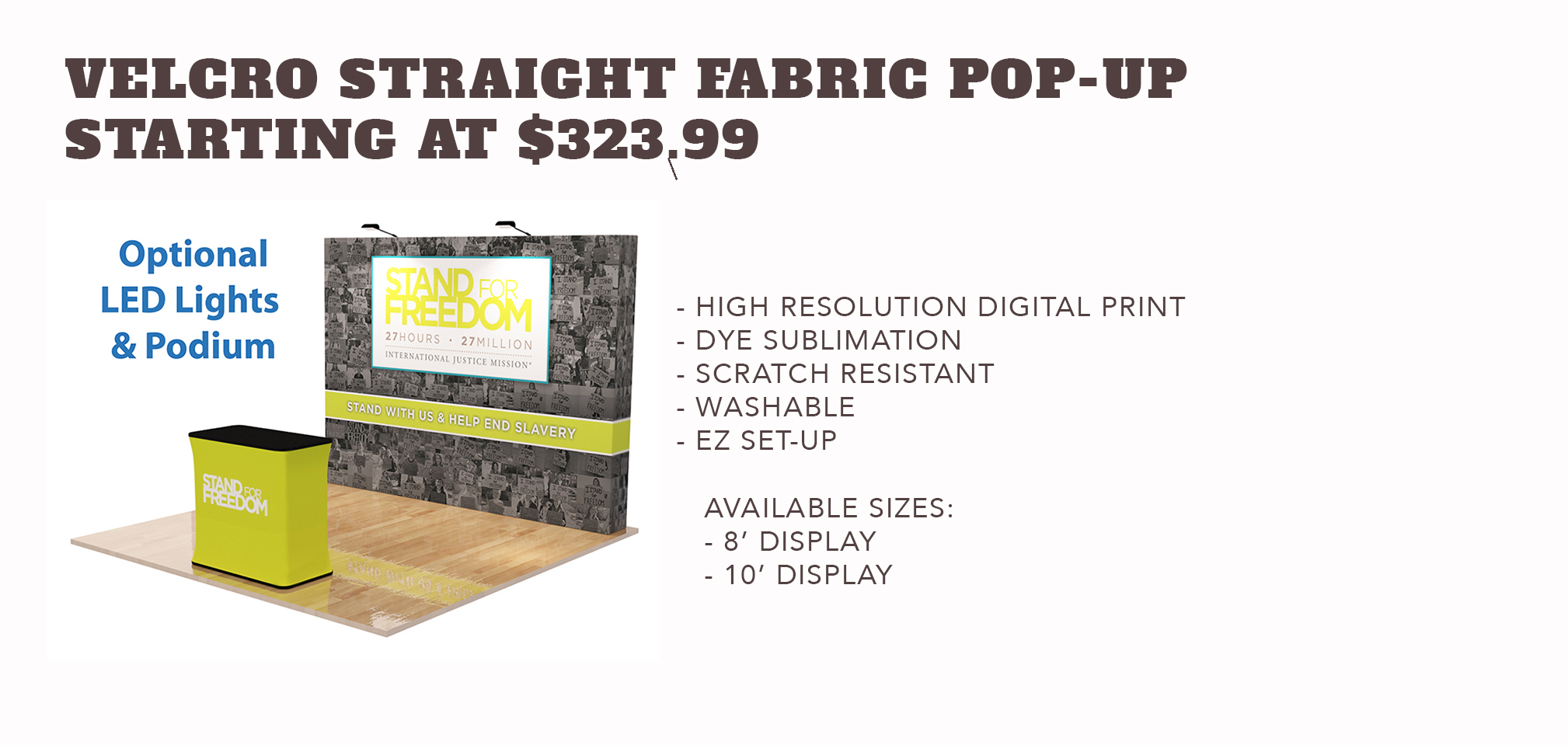 Velcro Straight Fabric Pop-up Display - Starting at $323.99