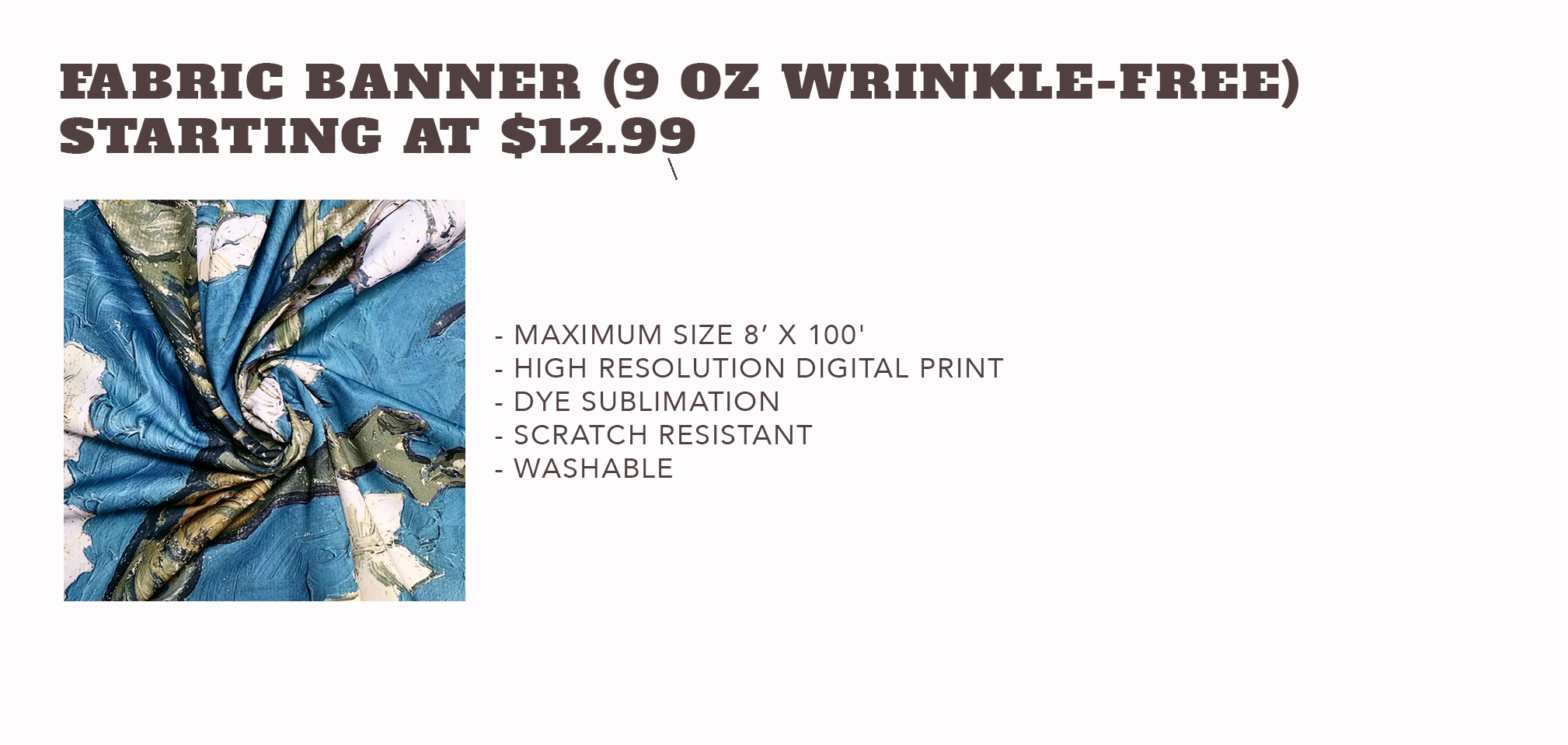 Fabric Banner(9oz. Wrinkle-Free) - Starting at $12.99