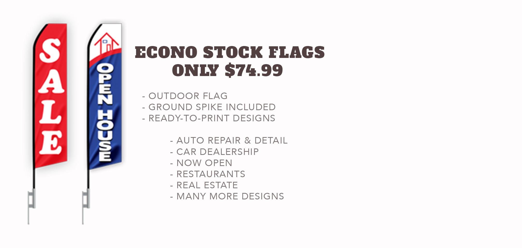 Econo Stock Flag - Only $74.99