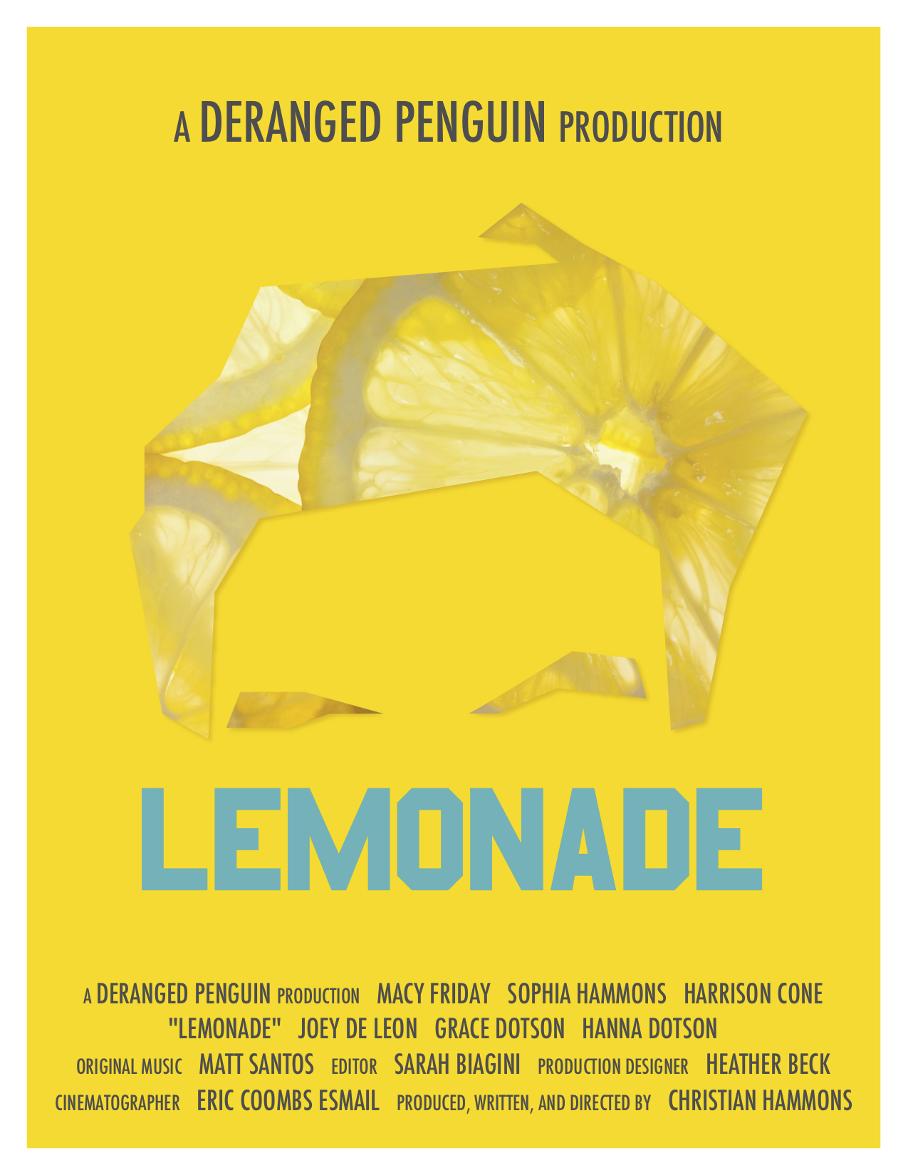 Lemonade (2017) - NarrativeAWARDS & RECOGNITIONS:Selection, Lone Star Film FestivalSelection, Golden State Film FestivalROLE:1st Assistant Camera