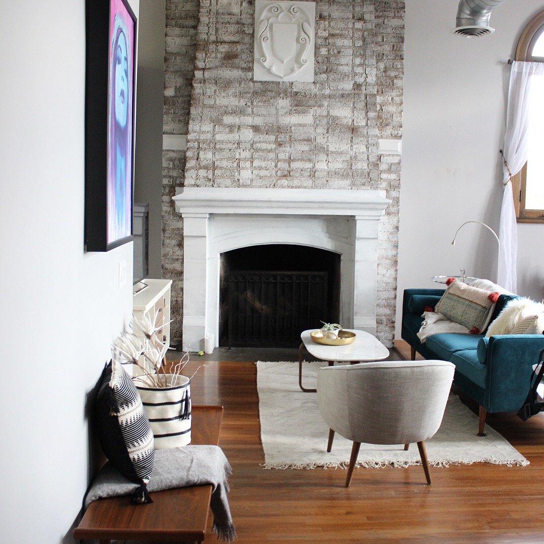 """""""After"""" Whitewashed fireplace"""