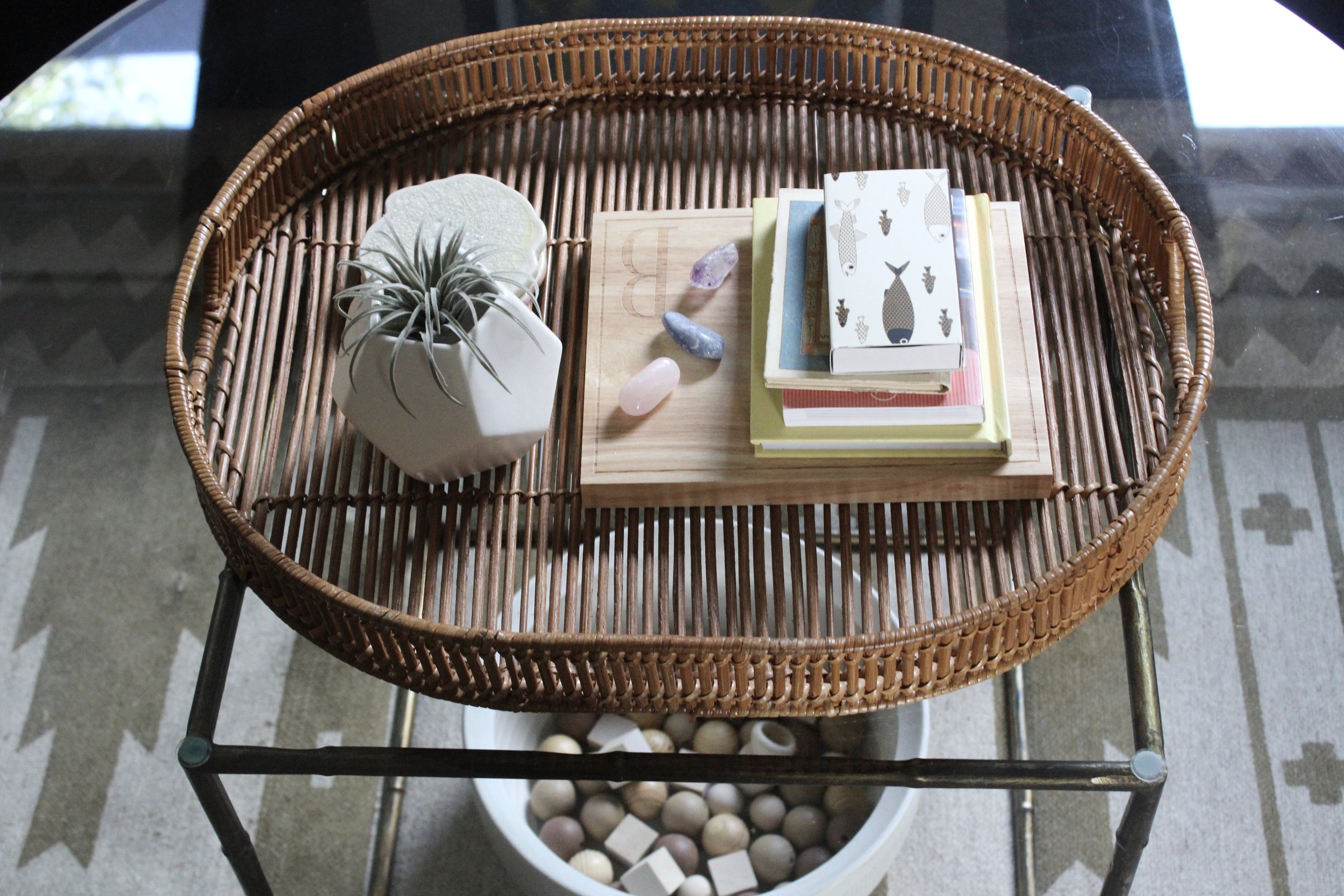 """After"" coffee table vignette"