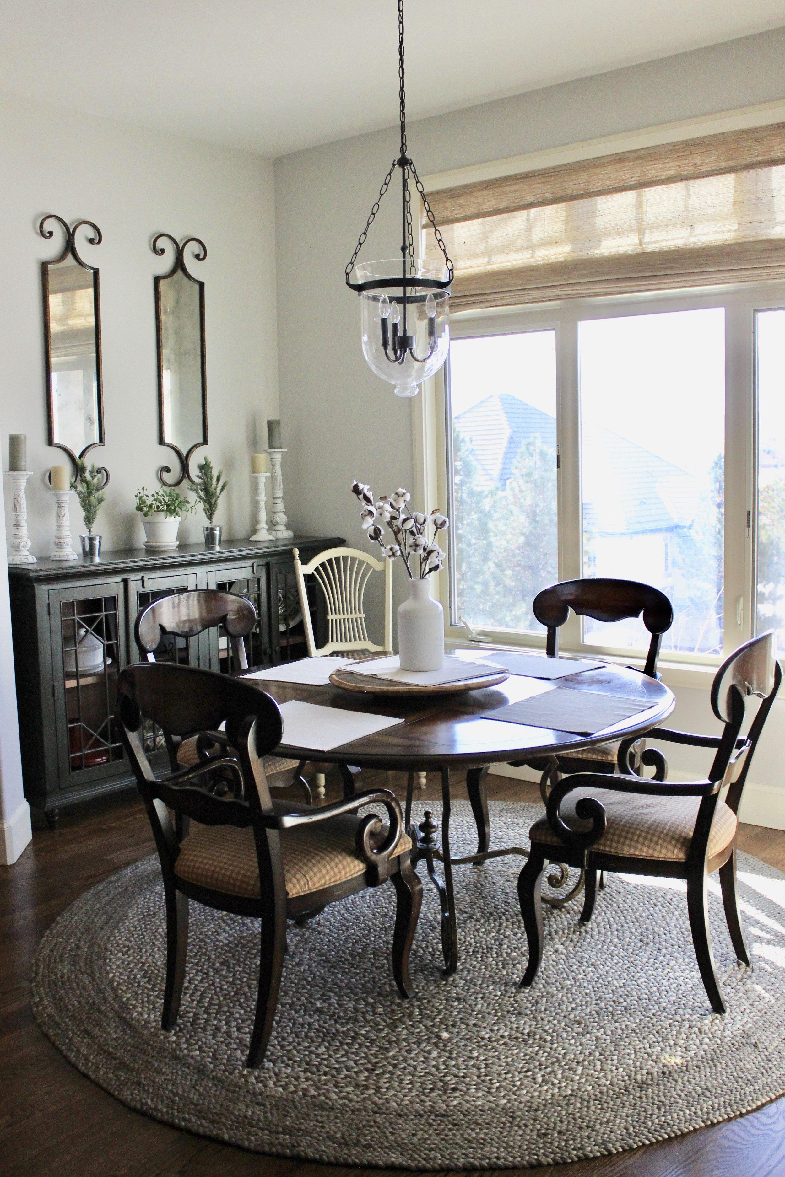 """after"" breakfast room (new paint + light fixture)"