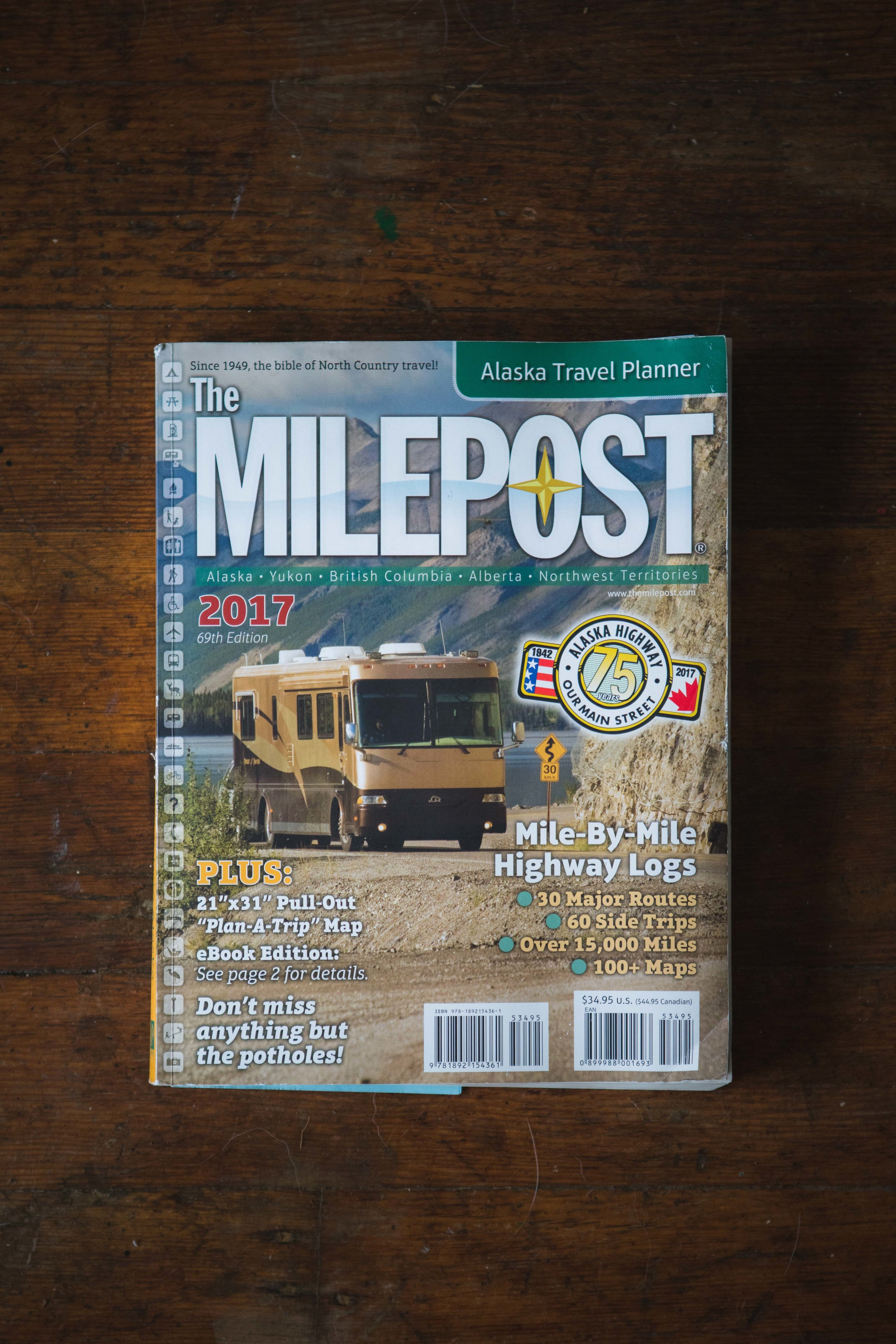 The Milepost - The Bread and Butter of any Alaskan Road trip. This bad baby has everything you need to get you through the last frontier. We found that our GPS in our cars doesn't include anything pass the lower 48, so we ended up utilizing the large map of Alaska that was included within the book. It'll tell you were everything is, one milepost at a time, to course your adventure and to pace yourself for unforgiving and endless roads. With this book, Alana and I could plan out how far to travel, where to get gas, bathroom breaks, camp spots, scenic spots and even just random tidbit of historical informations to keep up entertained through the journey. Once we get pass Seattle into Canada, our lower 48's cellphone service won't work, not even in Alaska so having a great back up travel guide is a safe bet to stay safe in the wilderness.