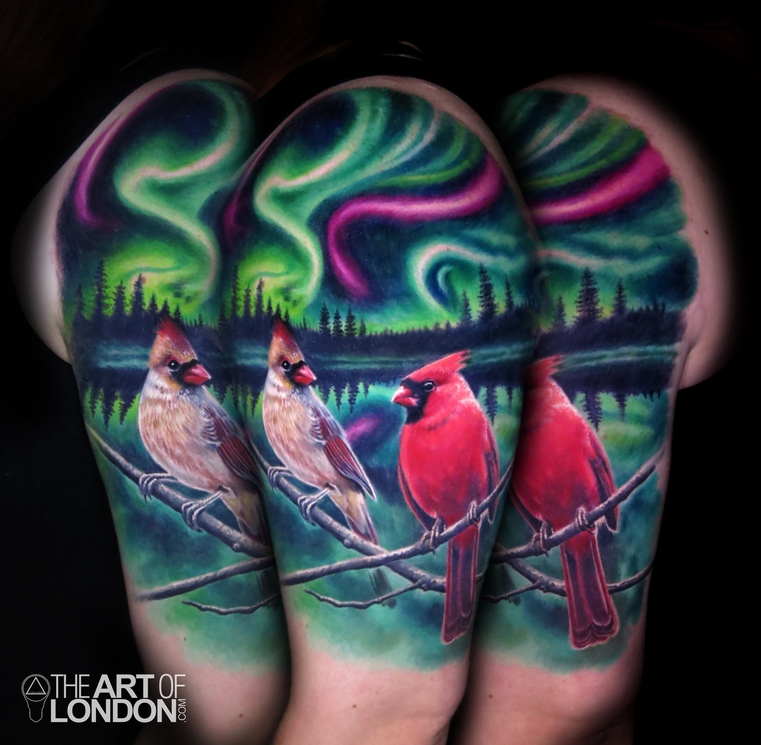 cardinals lovebirds northern lights aurora borealis tattoo.jpg