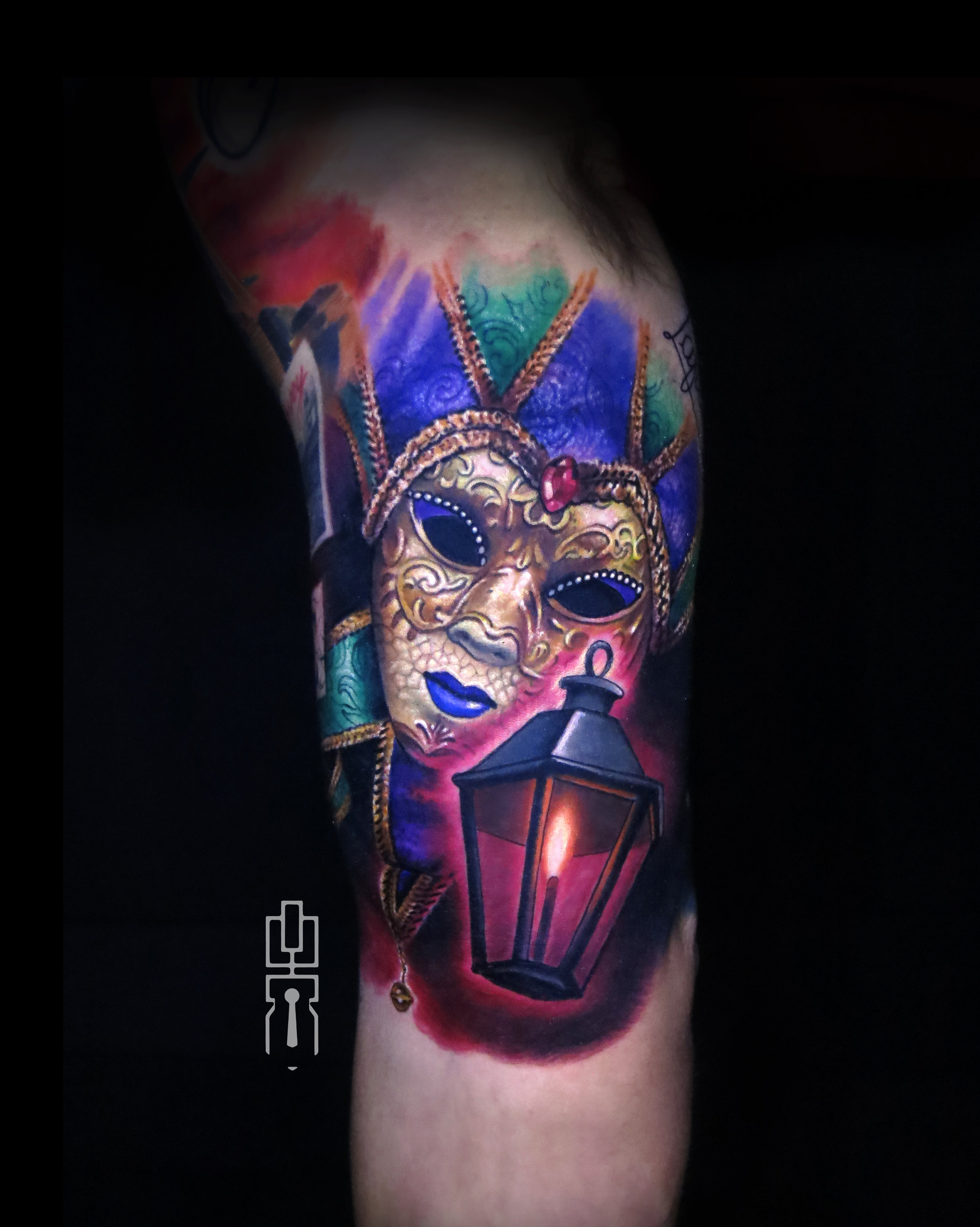 mardi gras mask new orleans lantern tattoo.jpg