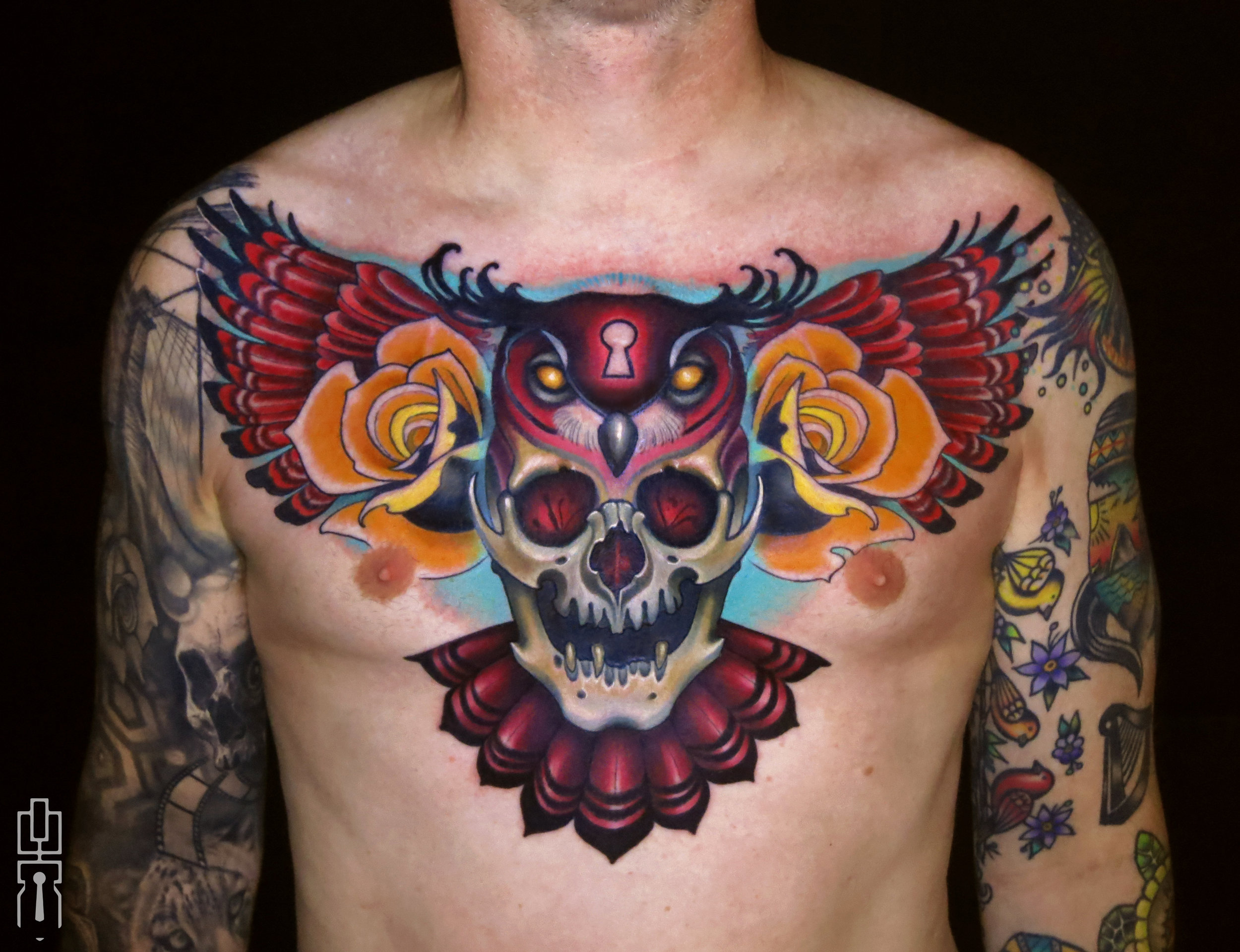 red owl skull chest piece tattoo 2.jpg