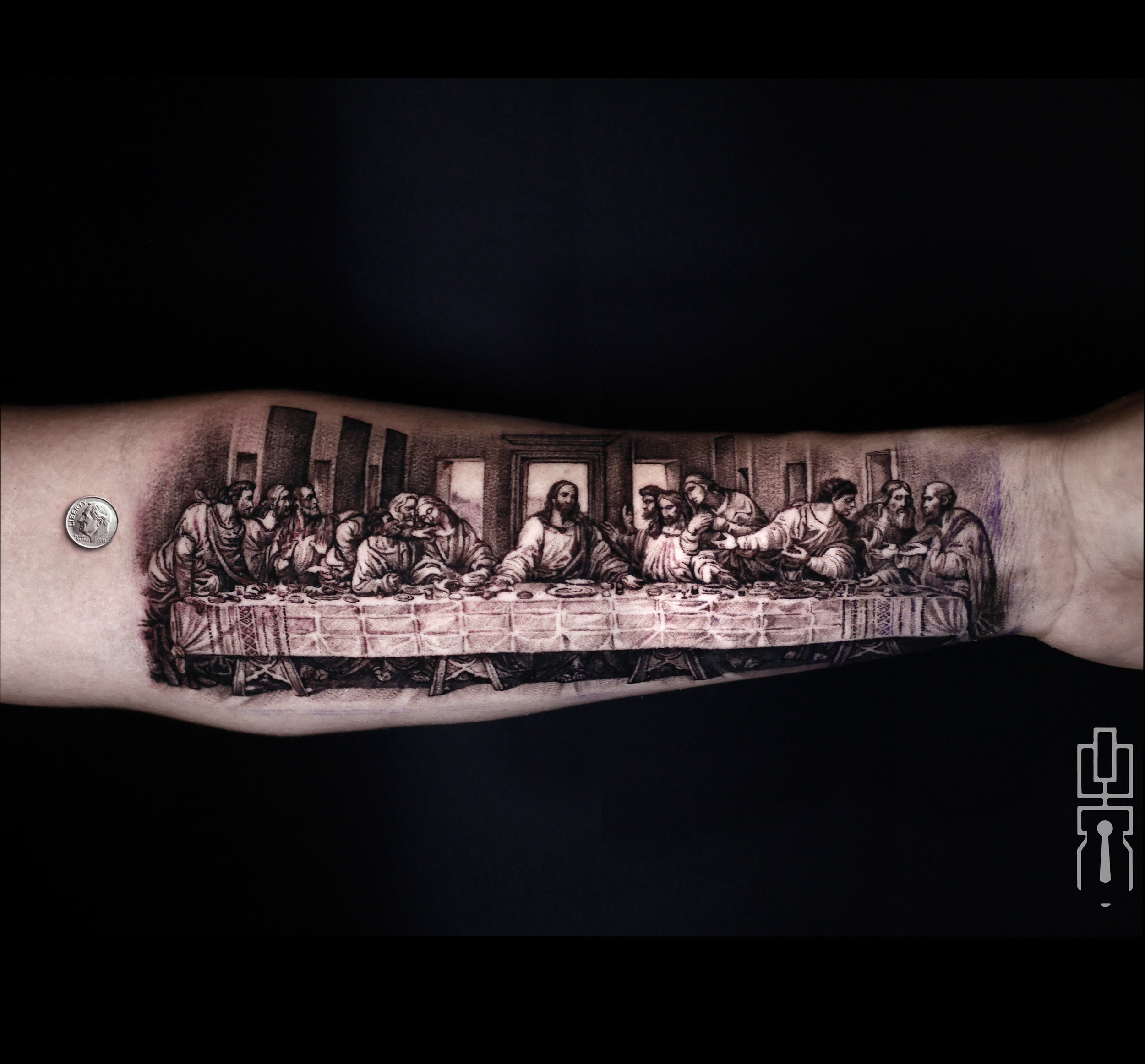 the last supper tattoo w dime black and white.jpg