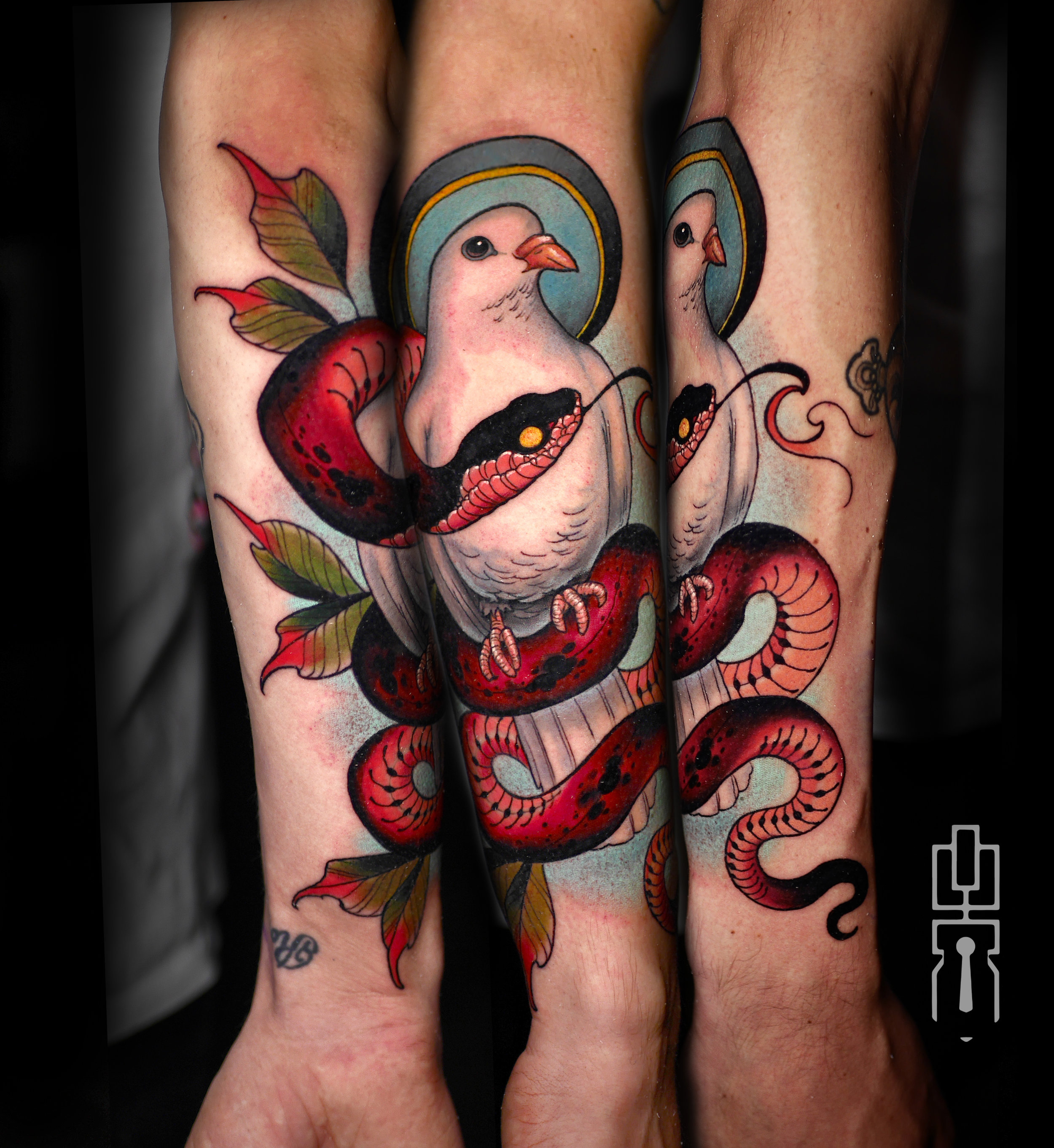 dove and snake neotrad tattoo full.jpg