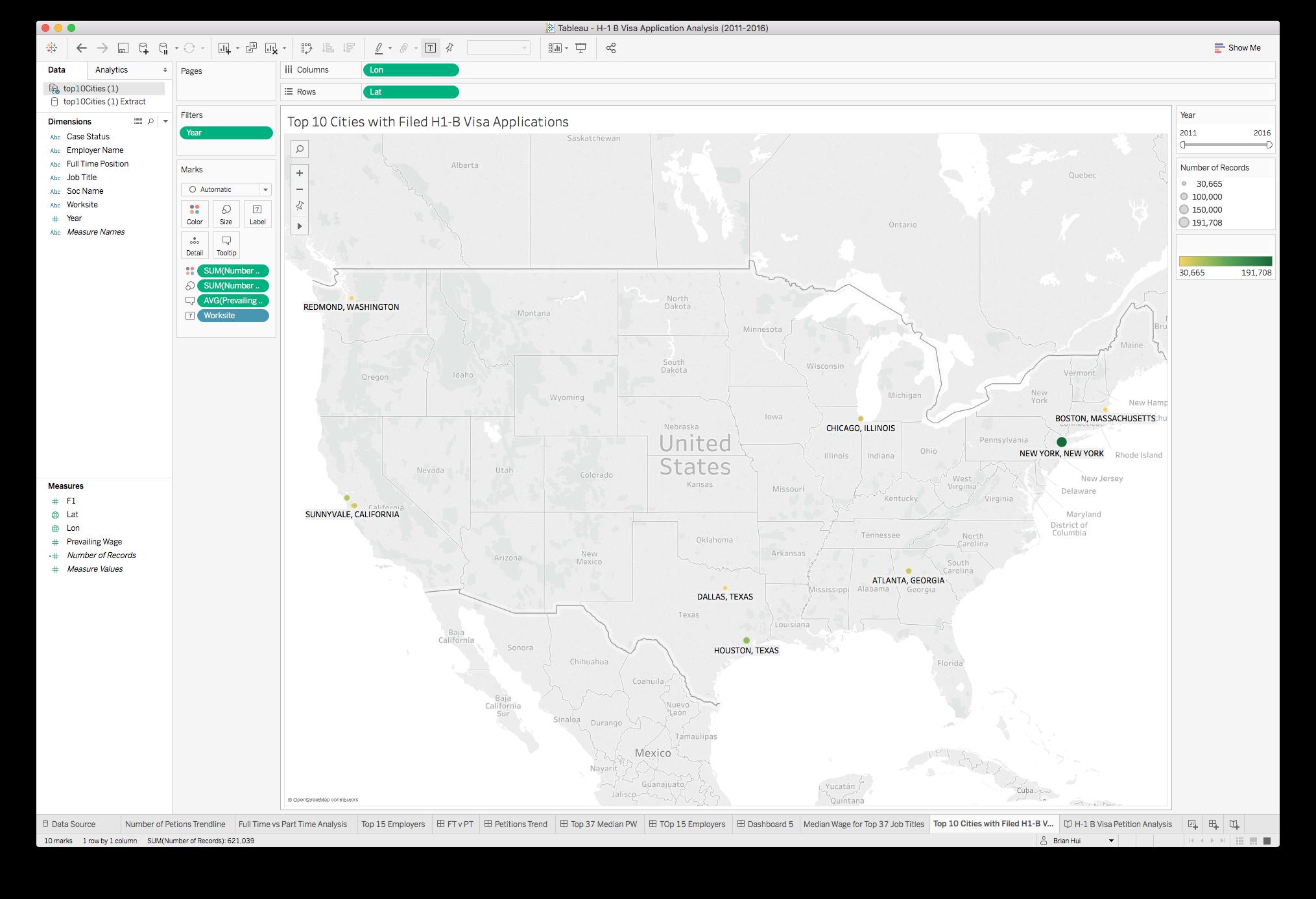 Final geographic visualization