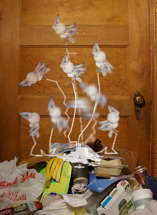 Come Again, birds and garbage ©Brent Watanabe 2014. Photo Courtesy of Brent Watanabe.
