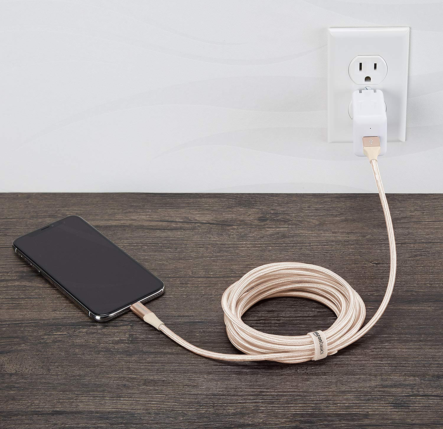 10-Foot Braided iPhone Charger  ($17) — I never knew how much I needed an XL iPhone charger until I had one. I no longer have to go numb on one side when I'm scrolling Reddit in bed, and trying to find a seat near an outlet at the airport is a nightmare of the past.