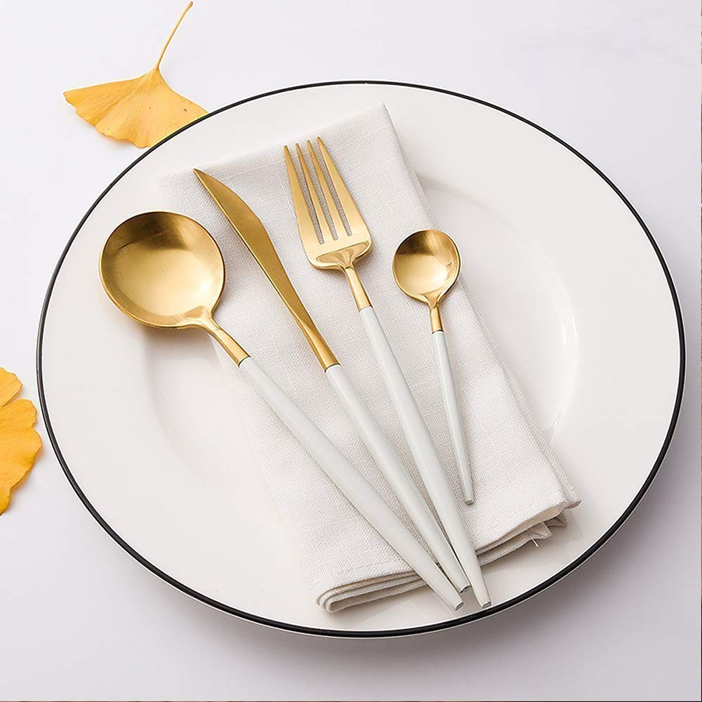 4-Piece Flatware Set  ($21 for fork, knife, spoon, and teaspoon) — I get asked about this flatware every time I post it on Instagram, and here's where I found it! I actually discovered these beauties when Bri from Design Love Fest posted them on her own socials, and they've served us well (literally) since we received them. My favorites are the tiny teaspoons, which I use for ice cream.