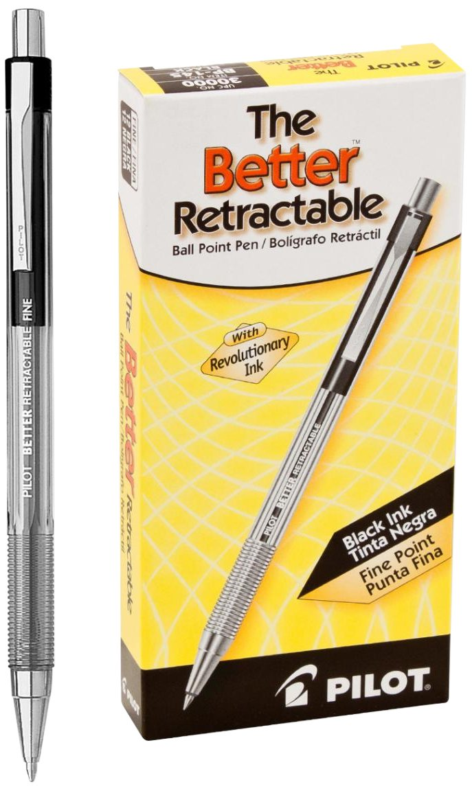 Pilot The Better Retractable Ballpoint Pen  ($10 per dozen) — I. Love. These. Pens. I have at least one on me at all times, and I hate using anything else! They're thin, light, and my perfect idea of a go-to writing utensil.