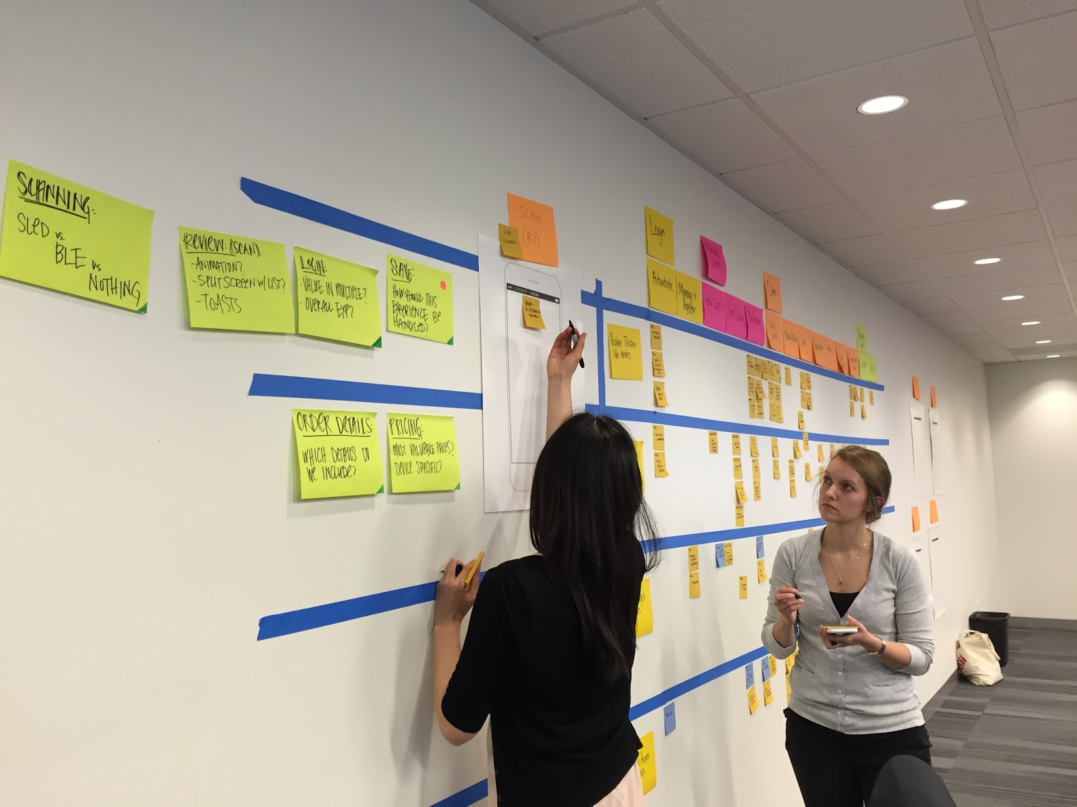As a team we created a high level user story map, prioritizing epics by release and ordering them by task flow.