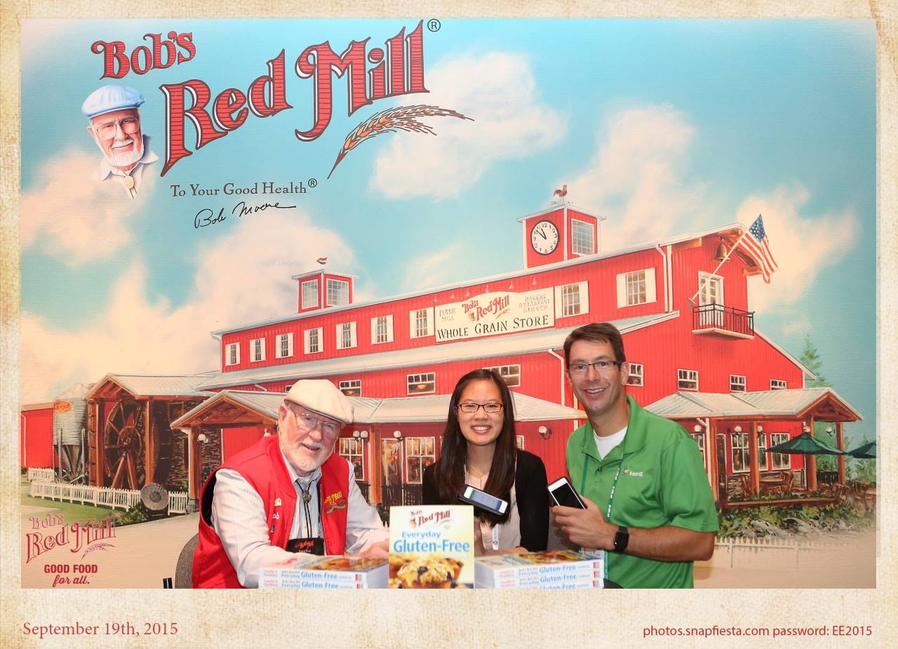 Our product owner and myself showing the app to Bob - of Bob's Red Mill!