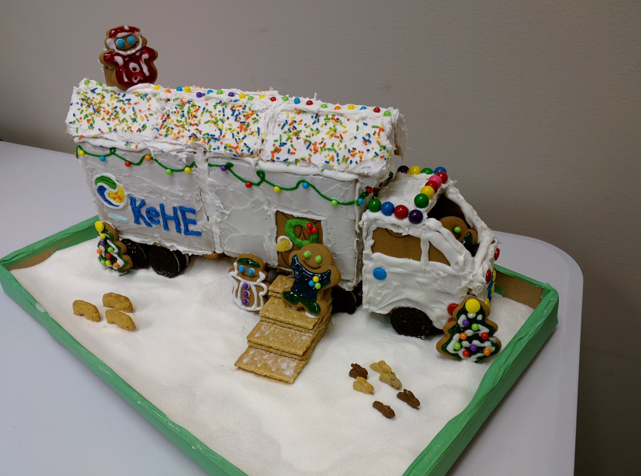 Our entry for KeHE's holiday gingerbread house contest. We made a KeHE truck trailer home and won!