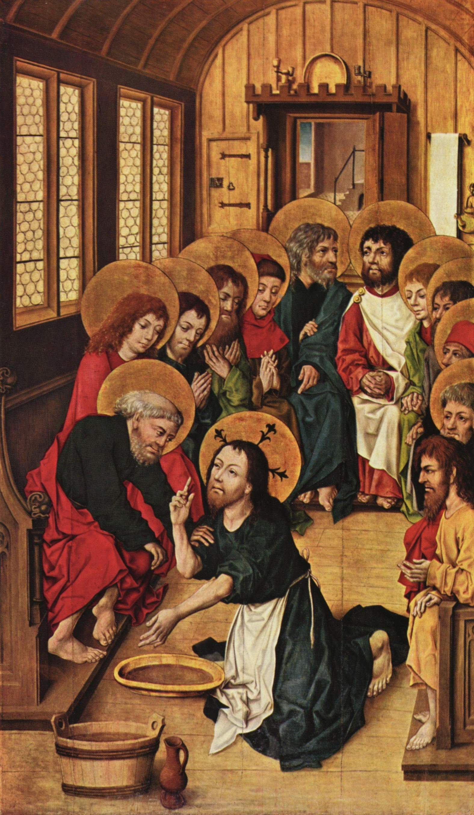 """""""Christ Washing the Feet of the Apostles""""  by Meister des Hausbuches, 1475"""