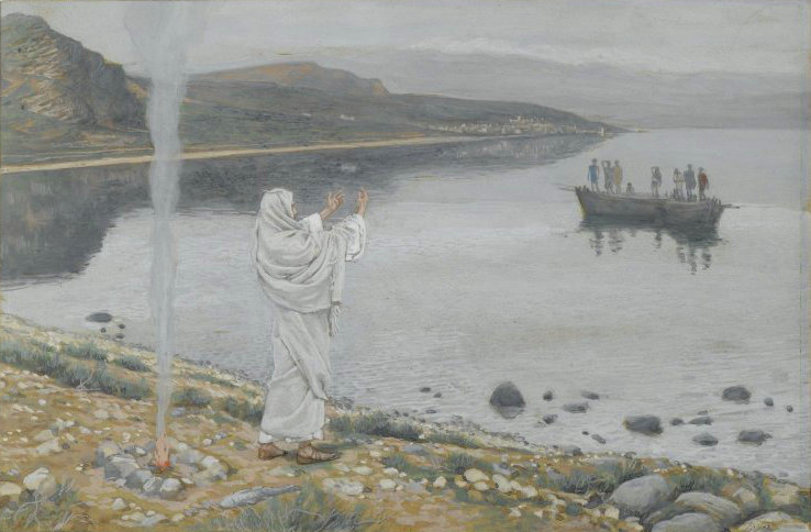 Jesus appears on the shore of Lake Tiberias  by James Tissot, 2008