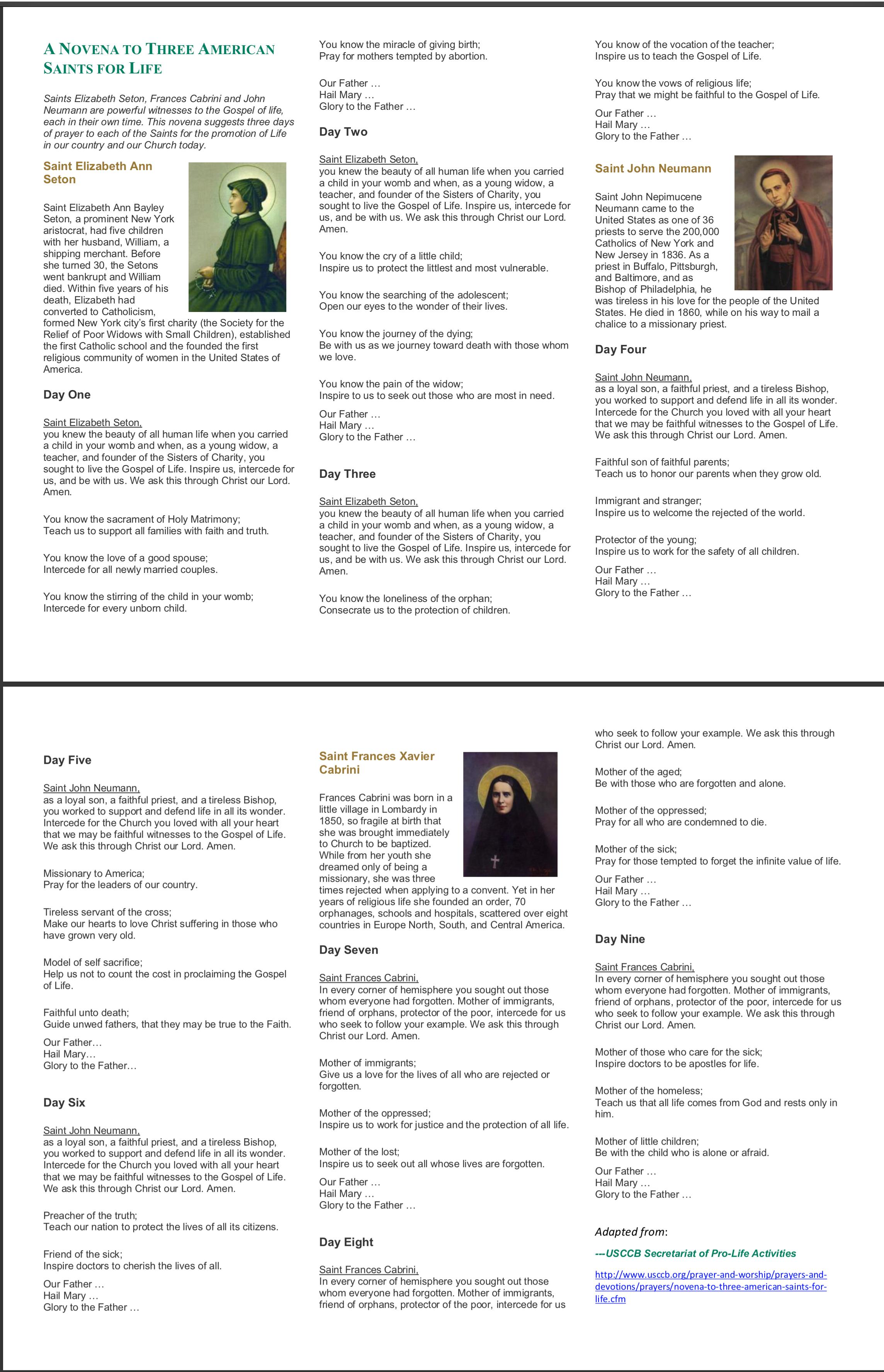 Download Novena flyer as a printable PDF