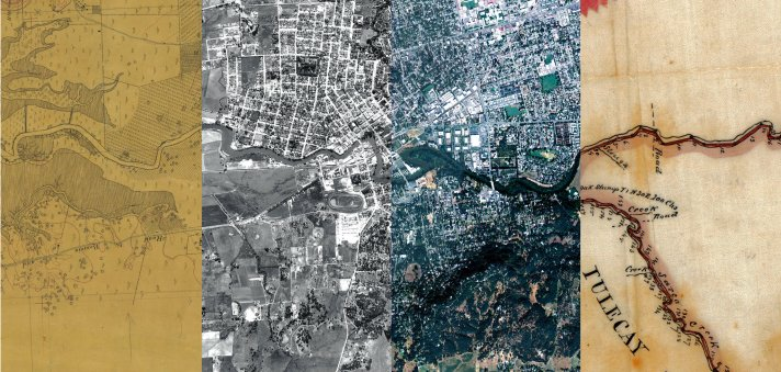 """"""" A map, two aerial photos and a land survey showing different stages of the area around the Napa River and the city of Napa, Calif., in (from left) 1858, 1942, 2009 and 1858.   Composite by Ruth Askevold / San Francisco Estuary Institute; from left to right: National Oceanic and Atmospheric Administration, U.S.D.A., U.S.D.A., Courtesy of The Bancroft Library, University of California, Berkeley """" Robbins, Jim. """"In Napa Valley, Future Landscapes are Viewed in the Past."""" The New York Times, January 26, 2016."""
