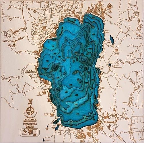 Mini Lake Tahoe 3D Wood Map
