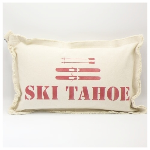 Ski Tahoe Red Lumbar Pillow