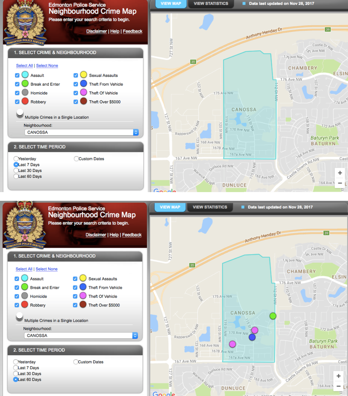 edmonton police service neighbourhood crime map - november 2017